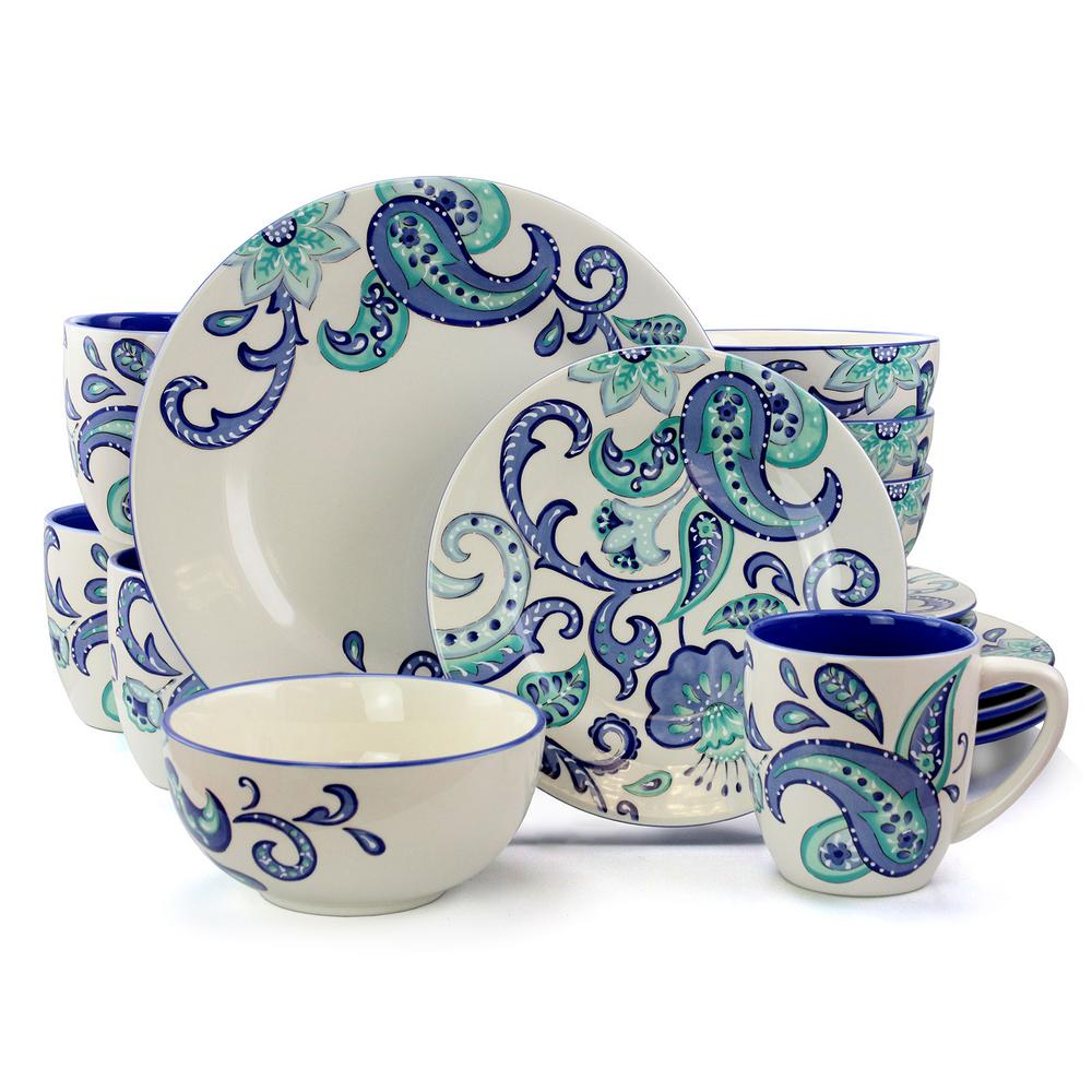 Roxanna 16-Piece Rustic Blue Stoneware Dinnerware Set (Service for 4)