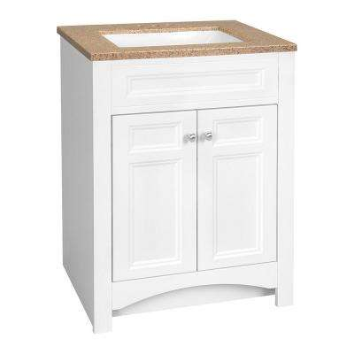 Modular 24.5 in. W Bath Vanity in White with Solid Surface Technology Vanity Top in Cappuccino with White Sink