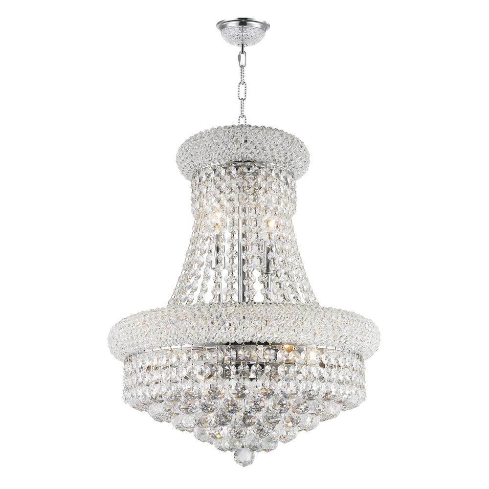 Worldwide Lighting Empire 8-Light Polished Chrome and Clear Crystal Chandelier