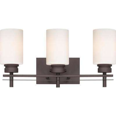 Carena 7.875 in. Indoor Antique Bronze Bath/Vanity Wall Mount Sconce with Etched White Cased Glass Cylinder Shades