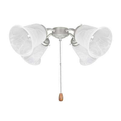 4-Light 9 in. Brushed Nickel Ceiling Fan Fitter Light Kit with Pull Chain (1-Pack)