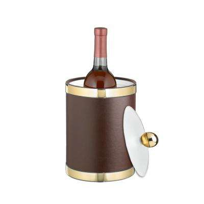 Sophisticates 2 Qt. Brown and Polished Brass Tall Ice Bucket with Lucite Lid