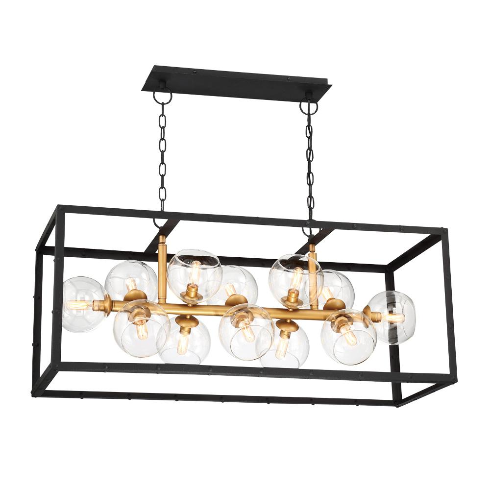 Eurofase Bentley Collection 12 Light Black And Gold Linear Chandelier With Gl Shade