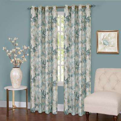 Tranquil  84 in. L Grommet Window Curtain Panel in Mist Lined
