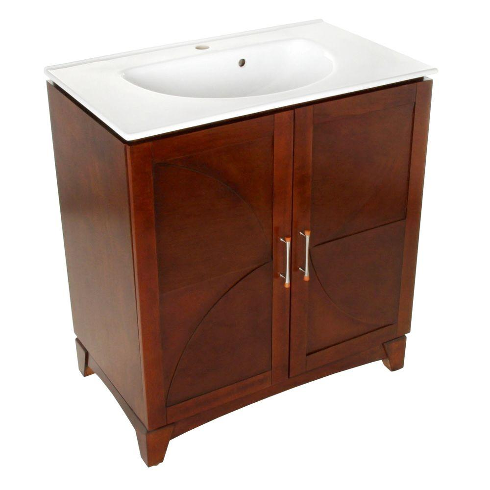 Foremost Maya 31 in. Vanity in Walnut and Vitreous China Top and Sink in White-DISCONTINUED