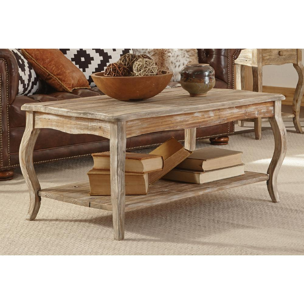 Alaterre Furniture Rustic Driftwood Coffee Table-ARSA1125