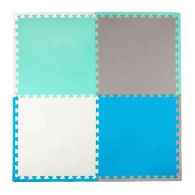 Blue/Turquoise 50 in. x 50 in. Residential Mat Set