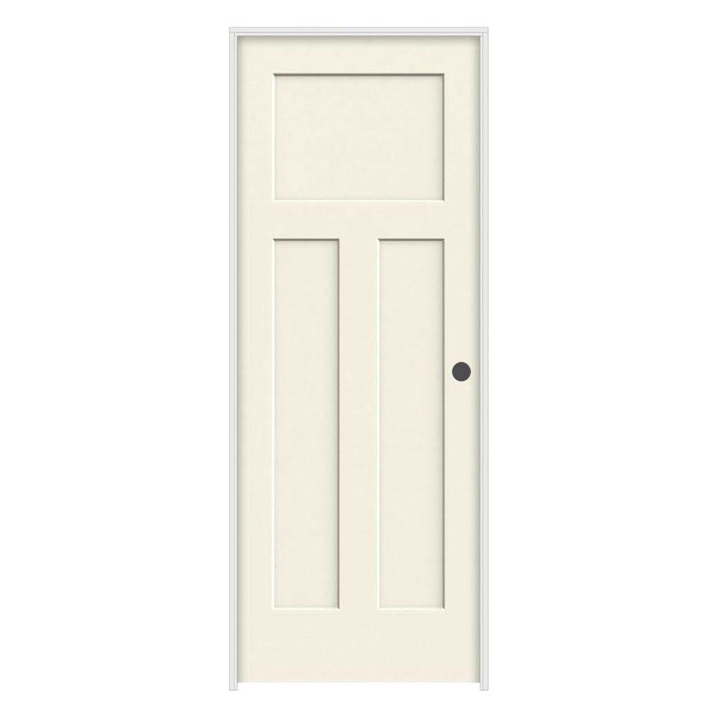 36 in. x 80 in. Craftsman Vanilla Painted Left-Hand Smooth Molded