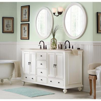 Newport 61 in. W x 21.50 in. D Double Bath Vanity in Ivory with Granite Vanity Top in Champagne with White Sink