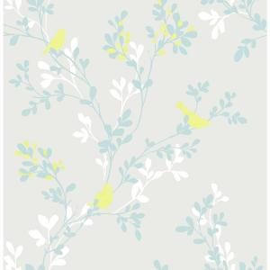Chirp Grey Birds and Trees Wallpaper Sample