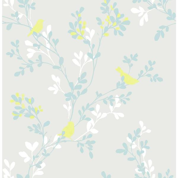 Brewster Chirp Grey Birds and Trees Wallpaper Sample 2704-22680SAM