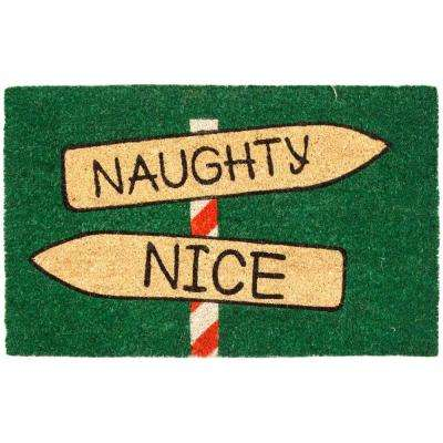 Naughty or Nice 17 in. x 28 in. Non-Slip Coir Door Mat