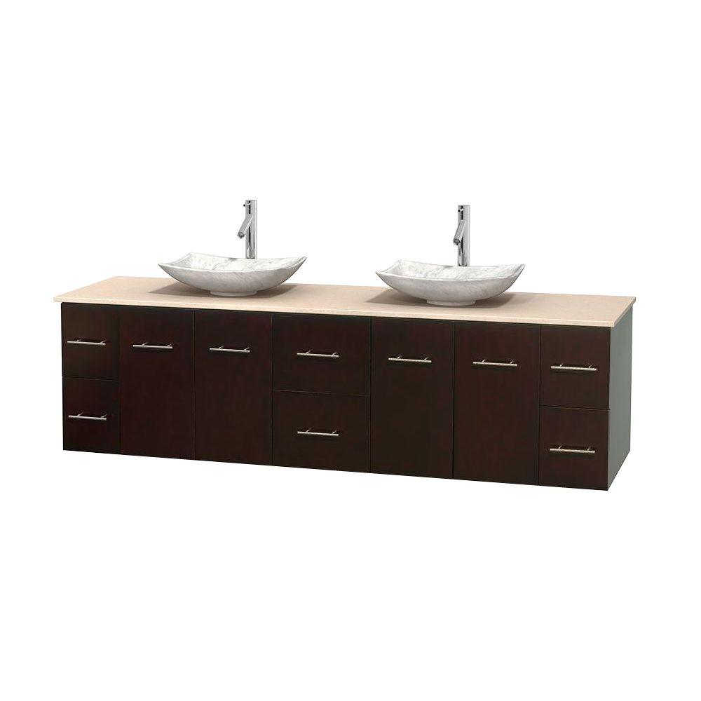 Wyndham Collection Centra 80 in. Double Vanity in Espresso with Marble Vanity Top in Ivory and Carrara Sinks