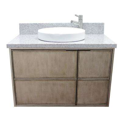 Scandi 37 in. W x 22 in. D Wall Mount Bath Vanity in Brown with Granite Vanity Top in Gray with White Round Basin