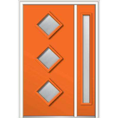 50 in. x 80 in. Aveline Low-E Glass Left-Hand 3-Lite Midcentury Painted Steel Prehung Front Door with Sidelite