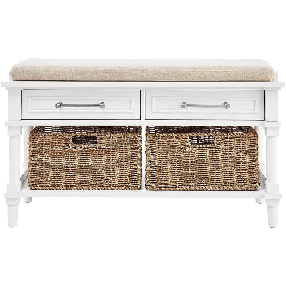 Delightful Aberdeen Polar White Storage Bench