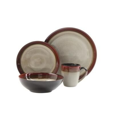 Couture Bands 16-Piece Cream and Red Dinnerware Set