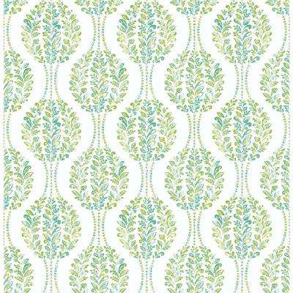 Versailles Green Floral Damask Wallpaper
