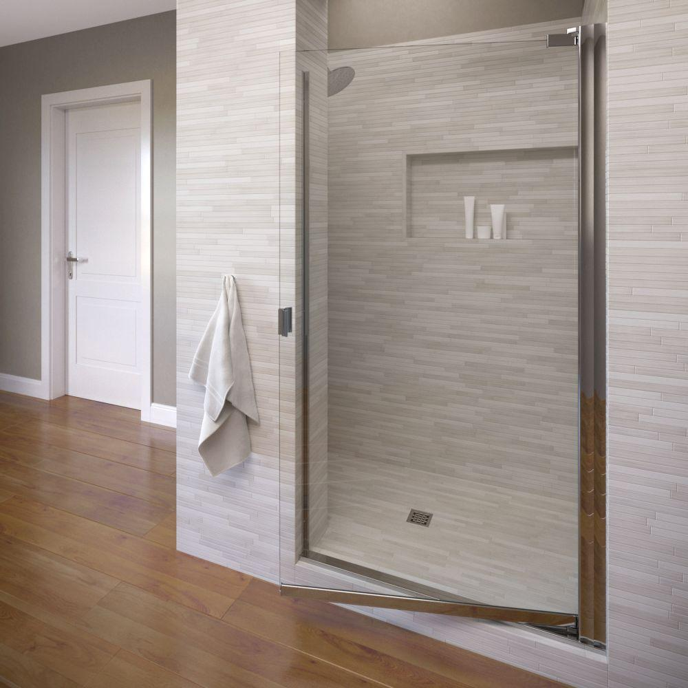 Basco Classic 25-1/8 in. x 66 in. Semi-Frameless Pivot Shower Door in Silver