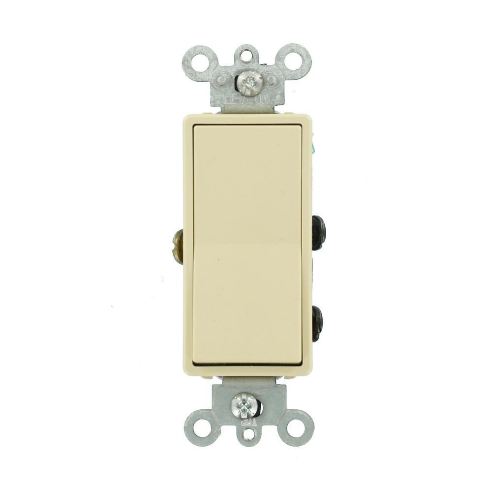 15 Amp 120/277-Volt Decora 4-Way Residential Grade AC Quiet Rocker Switch, Ivory