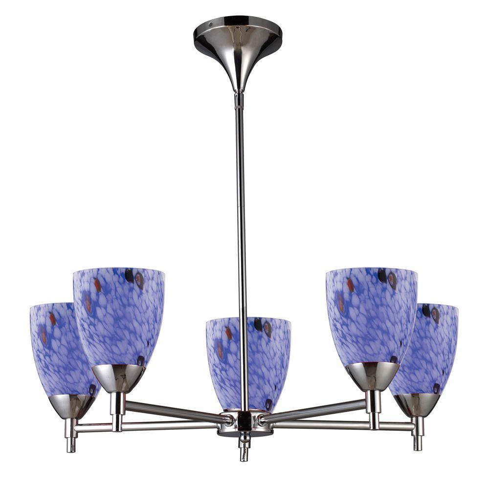 Titan Lighting 5-Light Ceiling Mount Polished Chrome Chandelier-DISCONTINUED