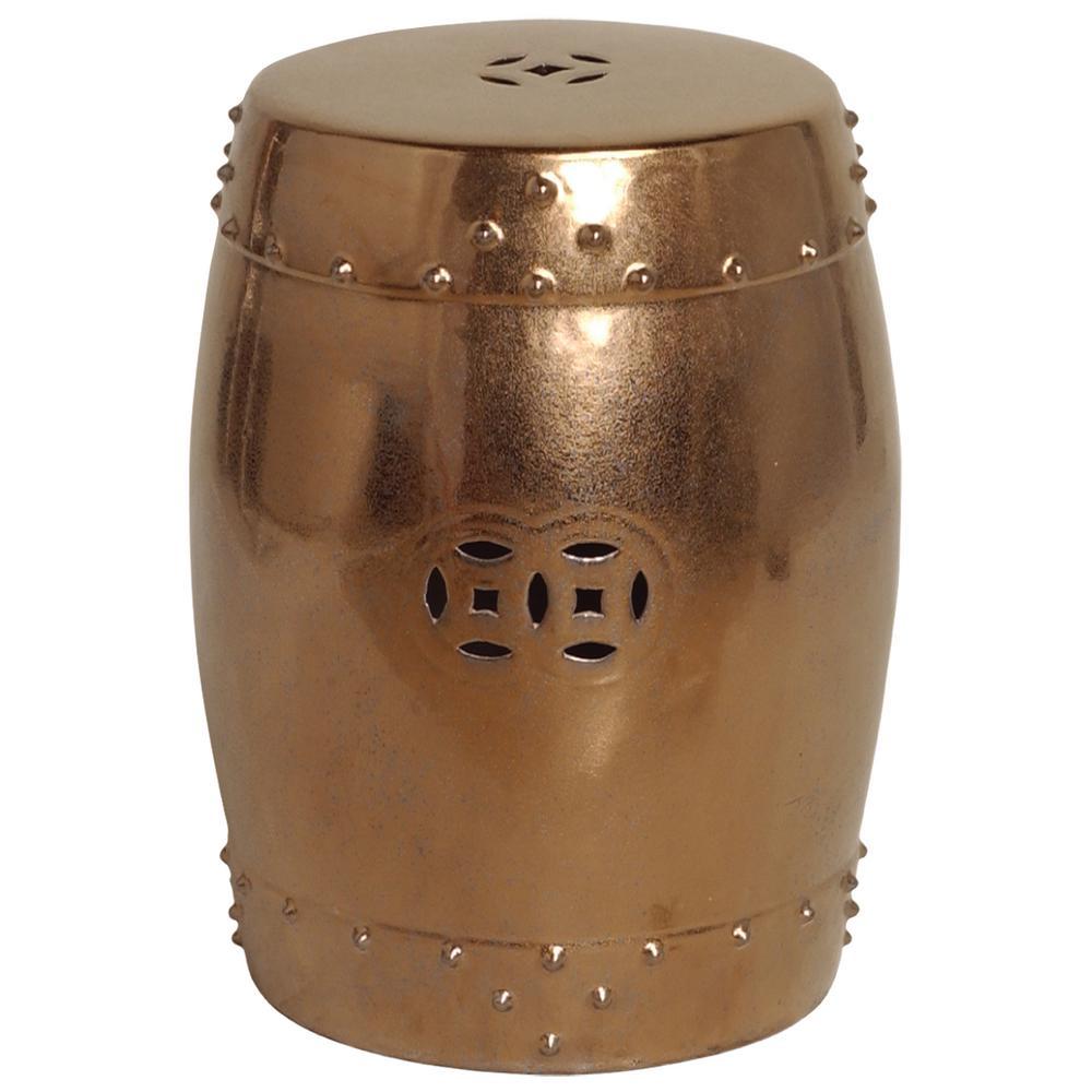 Large Gold Drum Ceramic Garden Stool