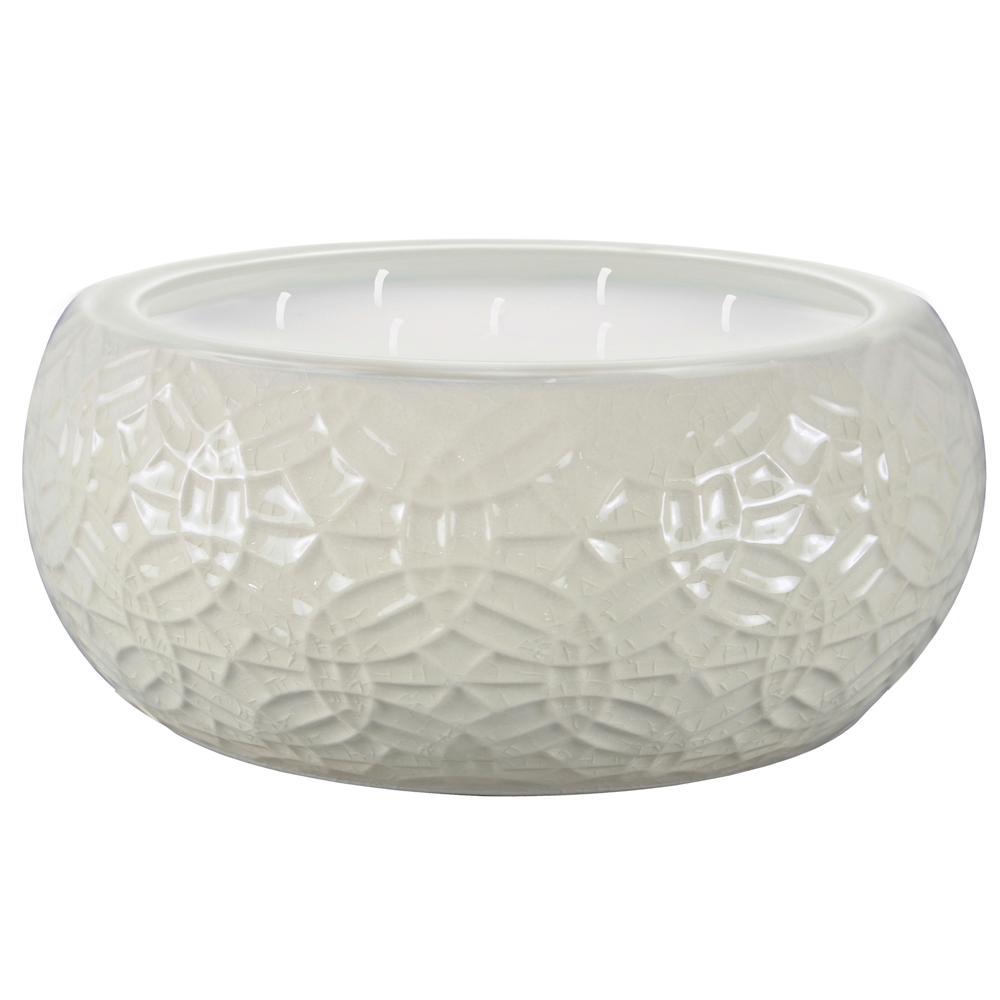 Trendspot 8 in. White Ceramic Citronella Candle