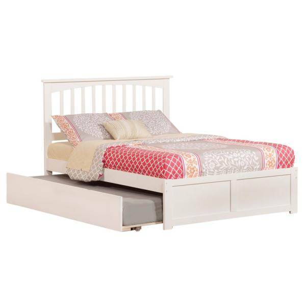 Atlantic Furniture Mission White Full Platform Bed with Flat Panel Foot
