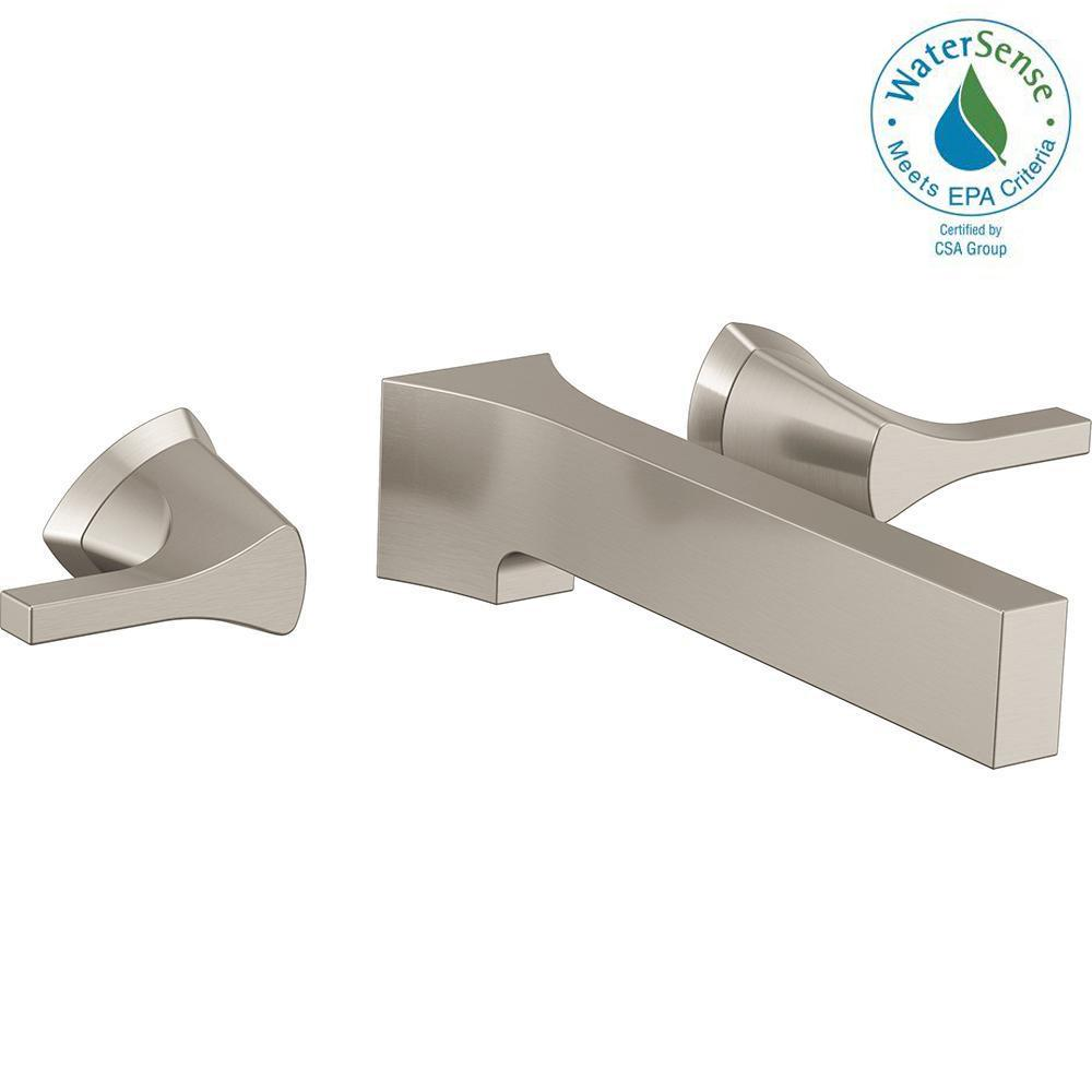 Zura 2-Handle Wall Mount Bathroom Faucet Trim Kit in Stainless (Valve