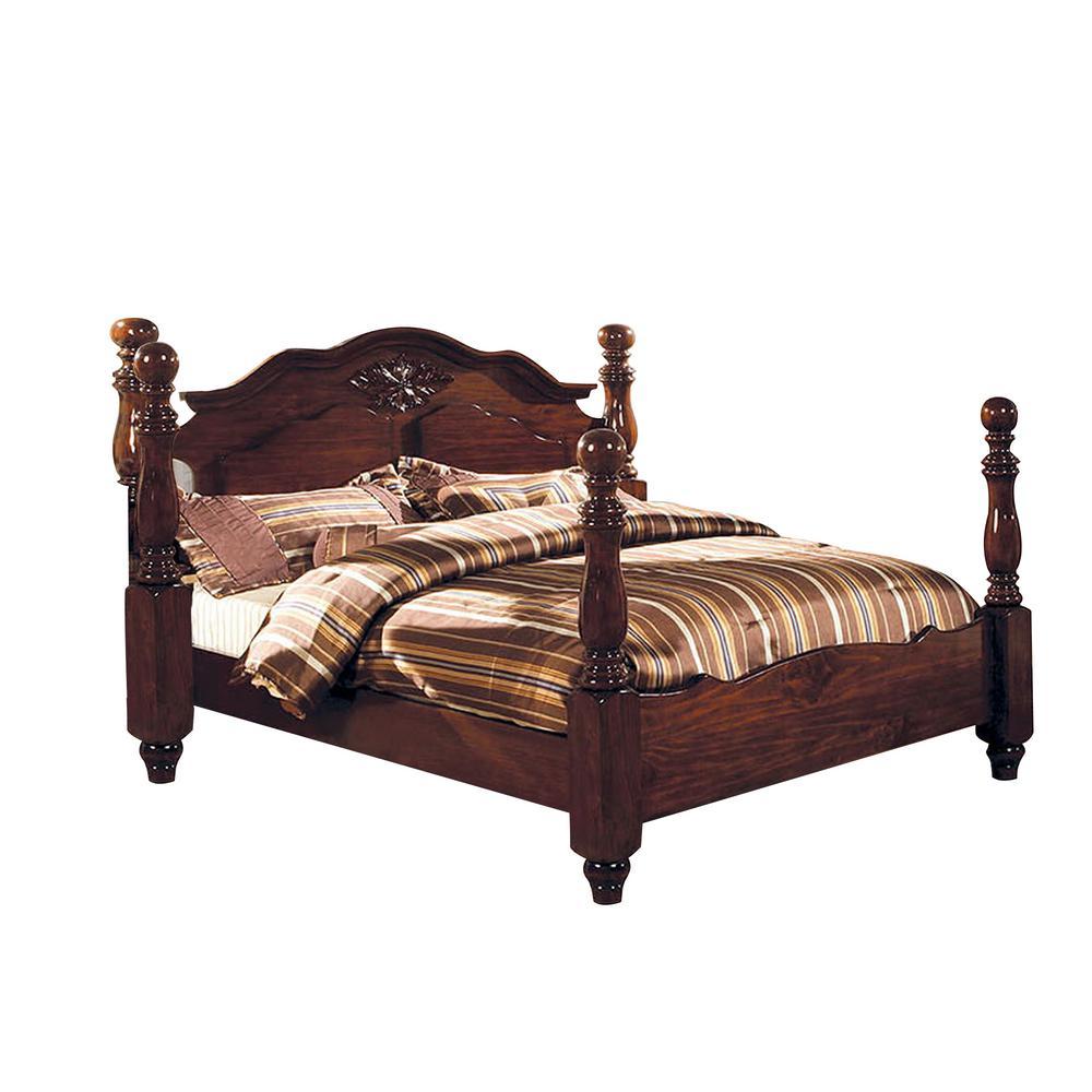 Tuscan II E.King Bed in Glossy Dark Pine