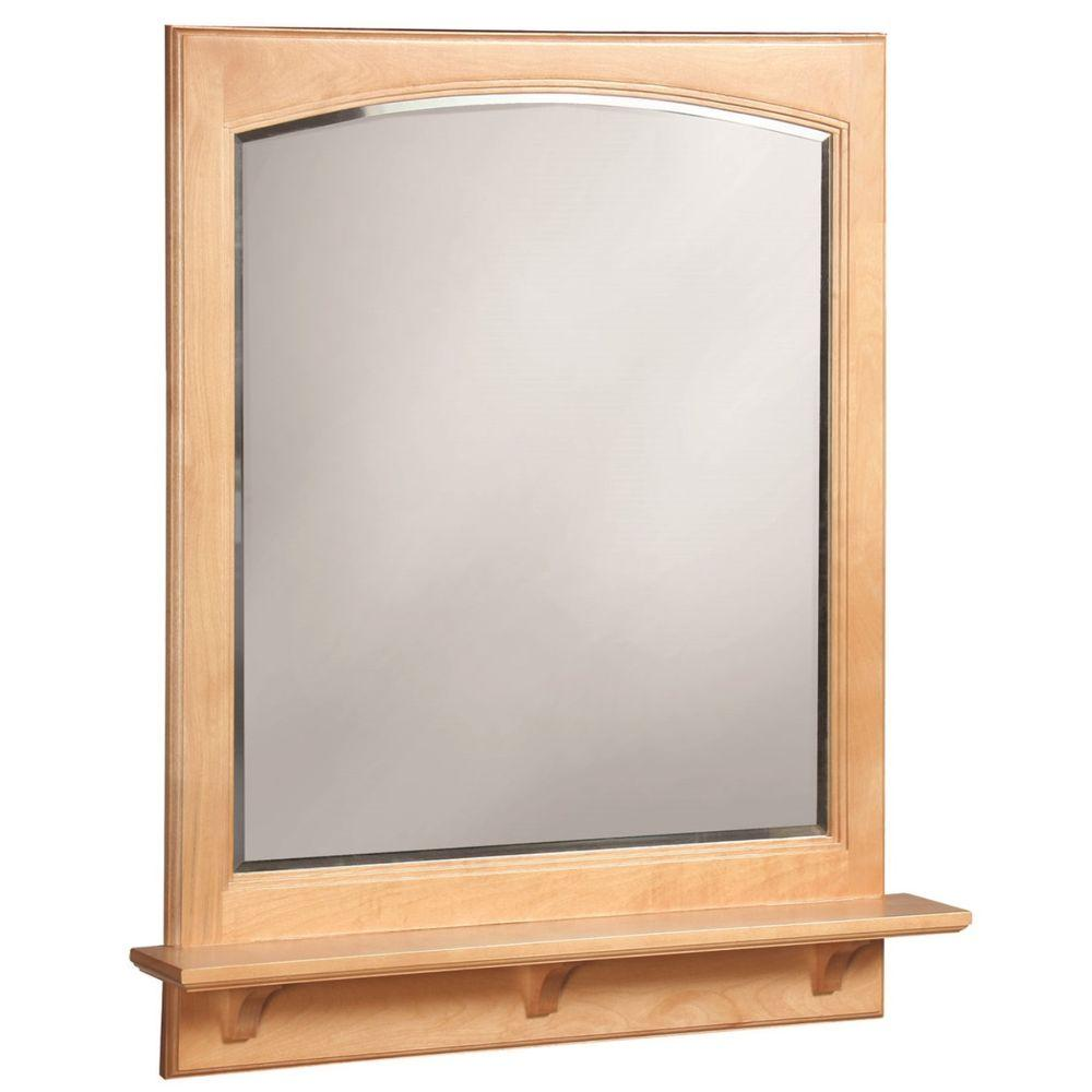 Design House Belmont 31 in. x 26 in. Framed Wall Mirror with Shelf in Maple