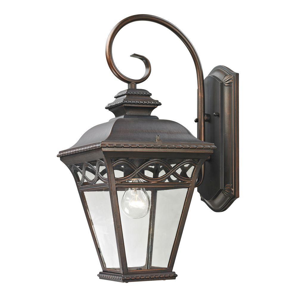 Titan Lighting Mendham 1-Light Outdoor Hazelnut Bronze Sconce
