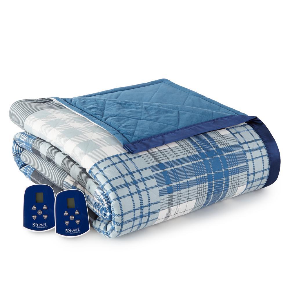 King/Cal King Smokey Mt. Plaid Electric Heated Comforter/Blanket