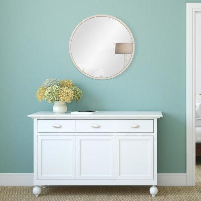 Metal Framed Round Distressed White Mirror