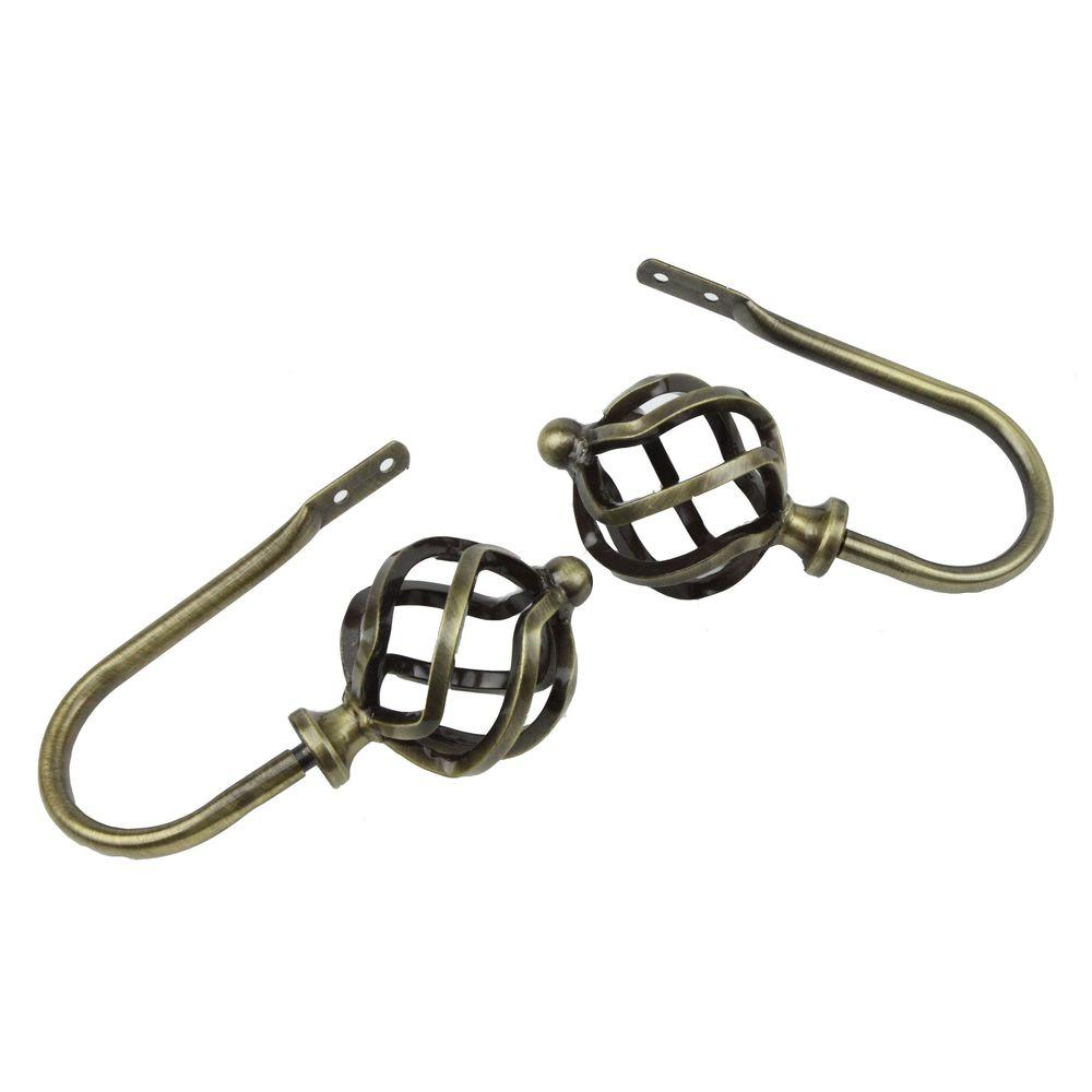 Rod Desyne Twist Decorative Holdback Pair in Antique Brass