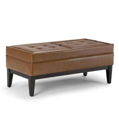 Castlerock 42 in. Transitional Ottoman Bench in Burnt Umber Tan Faux Leather