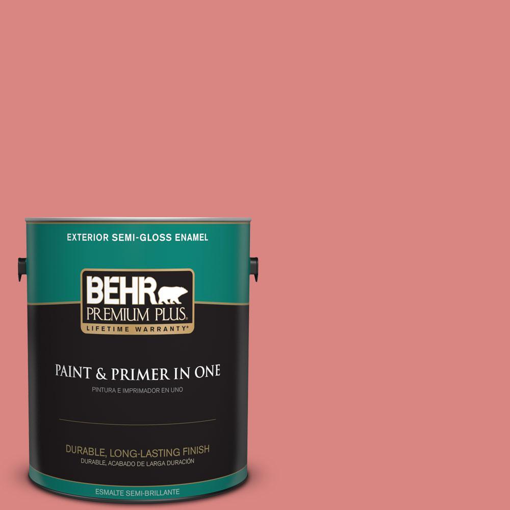BEHR Premium Plus 1-gal. #M160-5 Pink Damask Semi-Gloss Enamel Exterior Paint