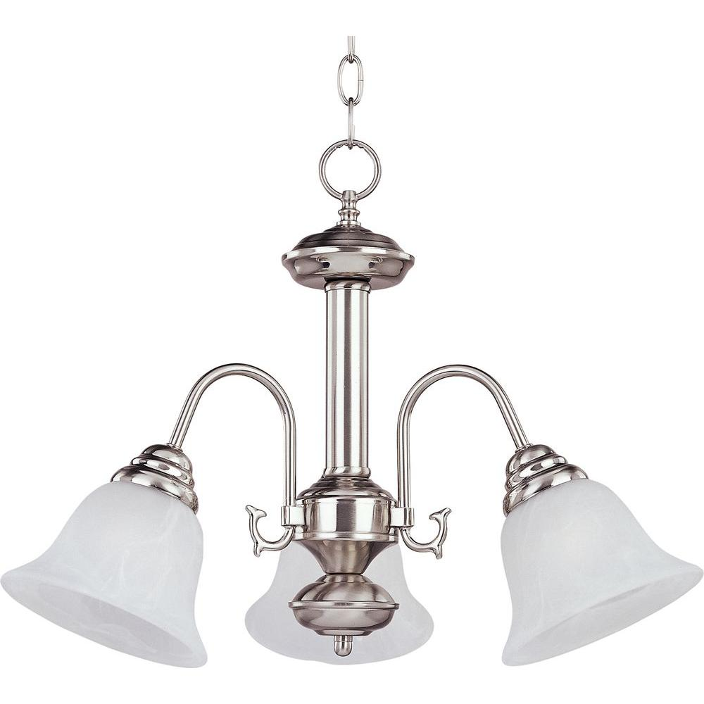 Maxim Lighting Malaga 3 Light Satin Nickel Mini Chandelier