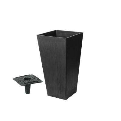 Valencia Squarewith Self-Watering Tray 11 in. x 19.3 in. H Black Marble Polystone Planter