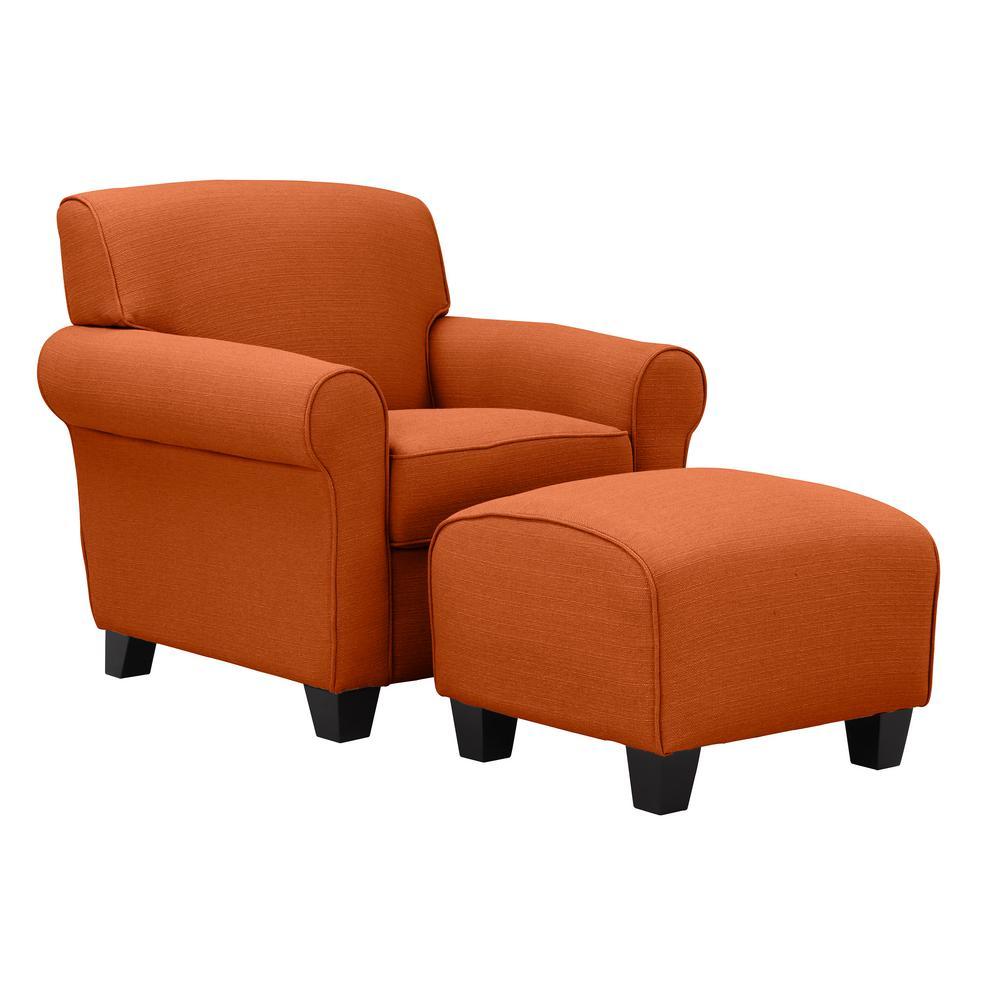 Winnetka Arm Chair and Ottoman in Orange Linen