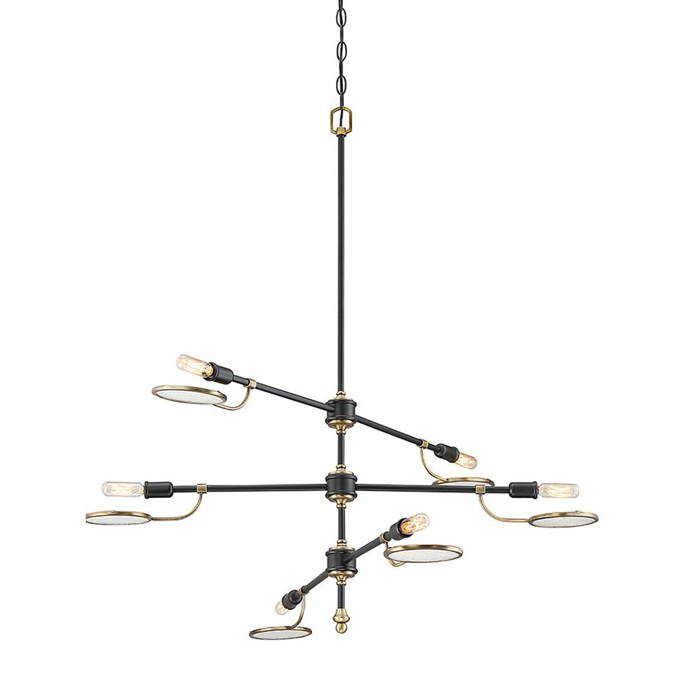6-Light Vintage Black Chandelier