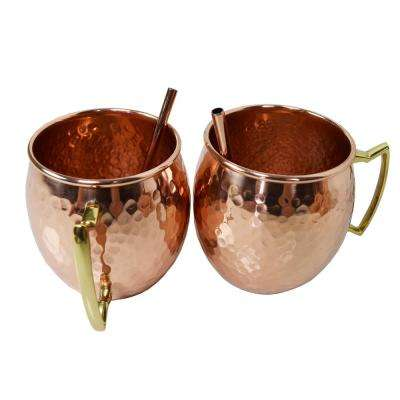 "Solid Round Pair of 100% Copper Moscow Mule Mug Cups with Straws 17 oz Hammered Handcrafted 5"" L x 3.5"" W x 4"" H"