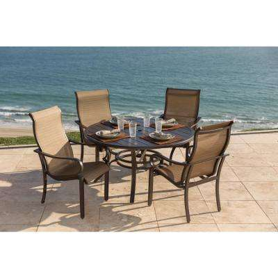 Roma 5-Piece Sling Stationary Chair Outdoor Dining Set