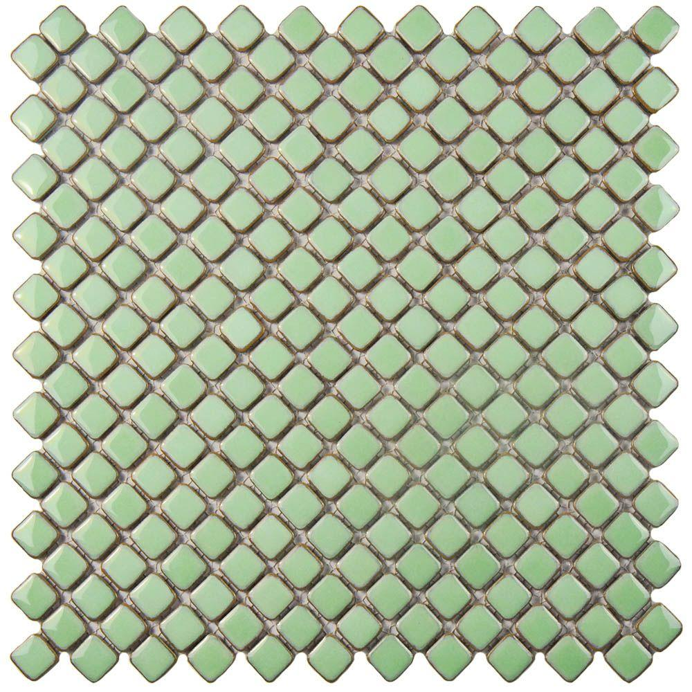 Merola Tile Hudson Diamond Light Green 12 3 8 In X 12 3 8