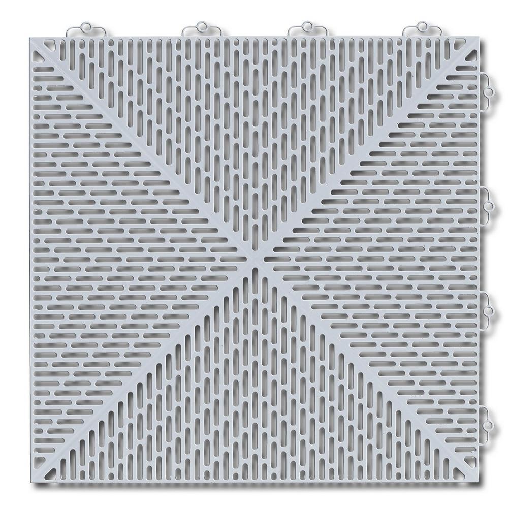 Soft 1.24 ft. x 1.24 ft. Polyethylene Interlocking Deck Tiles in Shadow Gray 35-per case/53.8 sq. ft.