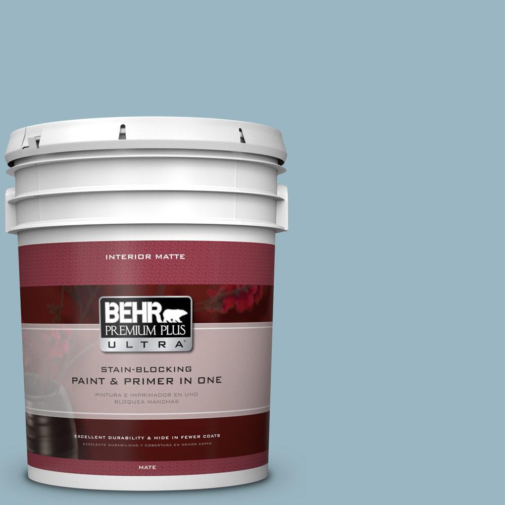 BEHR Premium Plus Ultra 5 gal. #S470-3 Peaceful Blue Matte Interior Paint
