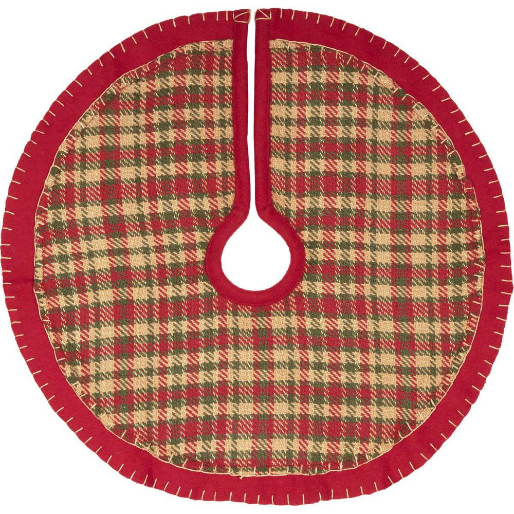 21 in. Cotton Cherry Red Rustic Christmas Decor Mini Tree Skirt