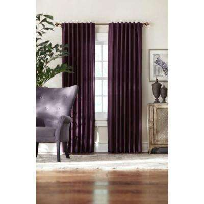 Semi-Opaque Plum Slub Faux Silk Back Tab Curtain