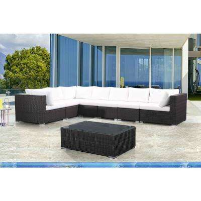 RIVA 8-Piece All-Weather Espresso Wicker Patio Sectional Set with Off-White Cushions