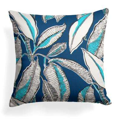 Panama Navy Square Outdoor Throw Pillow